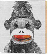 Sock Monkey Art In Black White And Red - By Sharon Cummings Wood Print