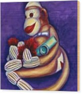Sock Monkey With Kazoo Wood Print