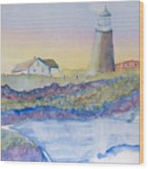 Soft Blue And A Light House Wood Print