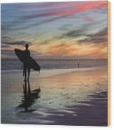 Surfing The Shadows Of Light Wood Print