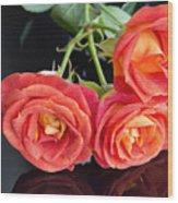 Soft Full Blown Red-orange Roses On Black Background. Wood Print