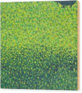 Soft Green Wet Trees Wood Print