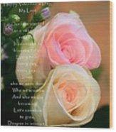 Soft Pastel Roses Wood Print