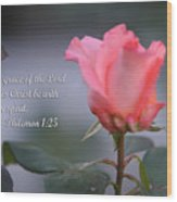 Soft Pink Rose With Scripture Wood Print