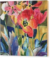 Soft Quilted Tulips Wood Print