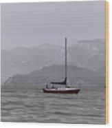 Soft Sailboat Stormy Lake Wood Print