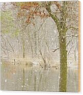 Softly Falls The Snow Wood Print by Lori Frisch