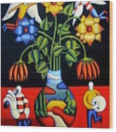 Softvase With Flowers And Figures Wood Print