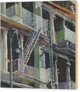 Soho Fire Escapes Wood Print