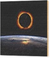 Solar Eclipse From Above The Earth Painting Wood Print