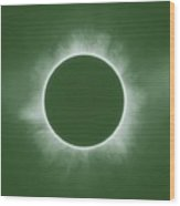 Solar Eclipse In Forest Color Wood Print