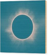 Solar Eclipse In Morning  Color Wood Print