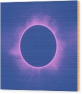 Solar Eclipse In Purple Color Wood Print