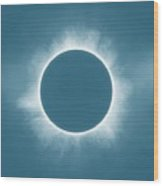 Solar Eclipse In Stormy Sky Color Wood Print