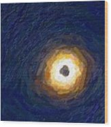 Solar Eclipse In Totality Painting Wood Print