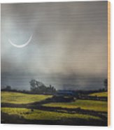 Solar Eclipse Over County Clare Countryside Wood Print