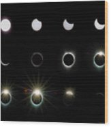 Solar Eclipse Sequence 2017 Wood Print