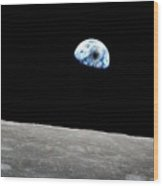 Solar Eclipse Viewed From The Moon Surface Wood Print