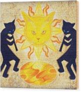 Solar Feline Entity Wood Print