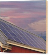 Solar Panels On Roof Of House Wood Print
