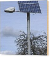 Solar Powered Street Light, Uk Wood Print by Mark Williamson