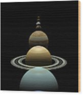 Solar System Planets In Alignment Around Sun Wood Print