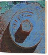 Solarized Rusty Fire Hydrant Wood Print
