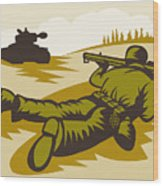 Soldier Aiming Bazooka Wood Print
