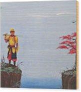 Soldier By Gorge Wood Print