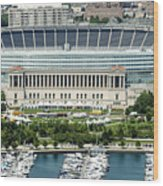 Soldier Field Stadium In Chicago Aerial Photo Wood Print