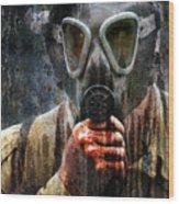 Soldier In World War 2 Gas Mask Wood Print