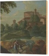 Soldiers And Dogs Near A River Wood Print