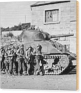Soldiers And Their Tank Advance Wood Print