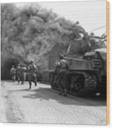 Soldiers Move Through A Smoke Filled Wood Print