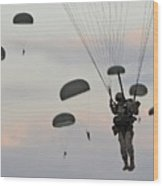 Soldiers Of The 82nd Airborne Descend Wood Print by Everett