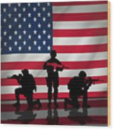 Soldiers On American Flag Wood Print