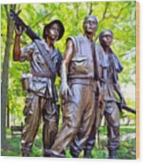 Soldiers Statue At The Vietnam Wall Wood Print