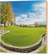 Solin Park And Church Panoramic View Wood Print