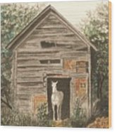 Solitaire Near Enterprise.  Solitary Horse Looking Out From Barn Door Wood Print by Lynn ACourt
