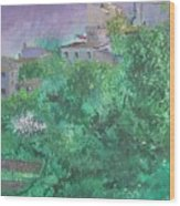 Solitary Almond Tree In Blossom Mallorcan Valley Wood Print