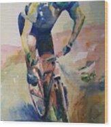 Solitary Biker Wood Print