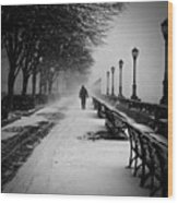 Solitary Man In The Snow Wood Print