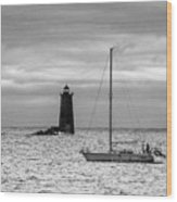 Solitary Sailor, New Castle Sunrise Wood Print