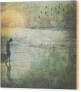 Solitary--walking In Water Wood Print