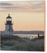 Solitude At Brant Point Light Nantucket Wood Print
