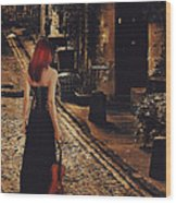 Soloist - Solitary Woman With Violin Wood Print