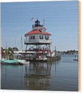 Solomons Island - Drum Point Lighthouse Reflecting Wood Print