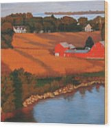 Solomons Red Barn At Sunset Wood Print