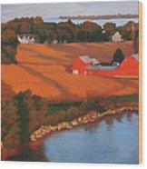 Solomons Red Barn At Sunset Wood Print