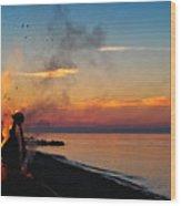 Solstice Bonfire Wood Print